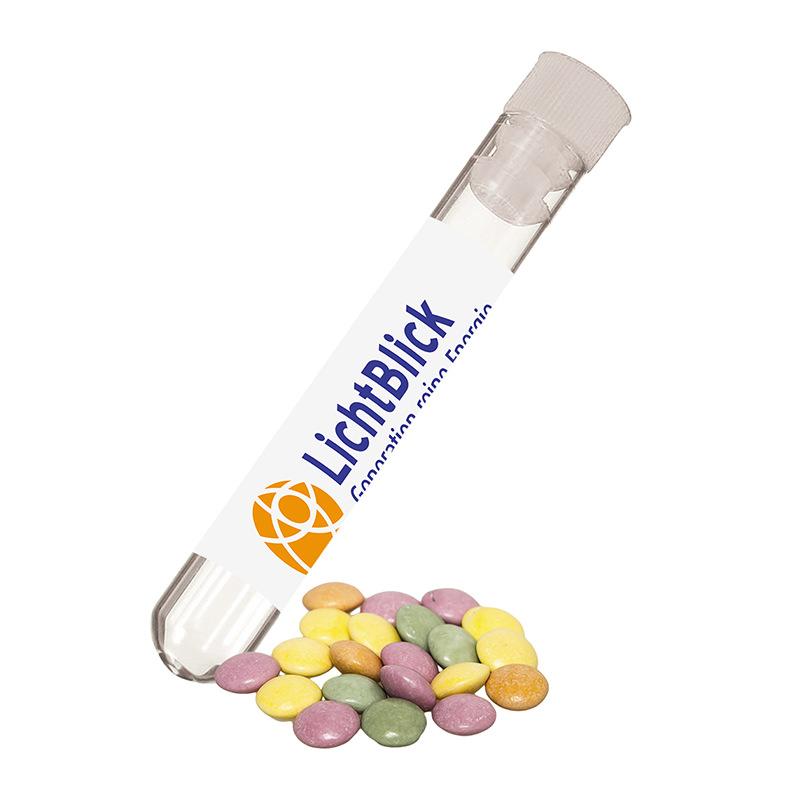 10 g Bio bunte Schokolinsen im Reagenzglas mit Werbe-Etikett