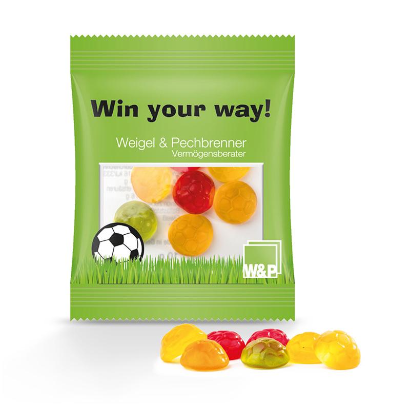 10 g Fruchtgummi Fußbälle im Werbetütchen