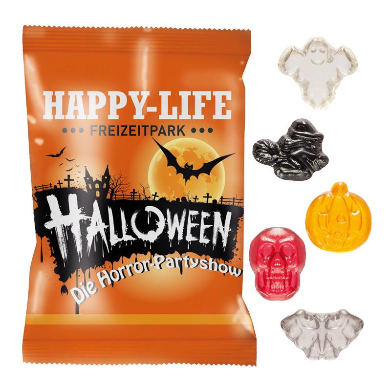 10 g Fruchtgummi Halloweenformen im Werbeflowpack