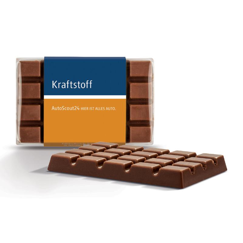 10 g Schokoladen Täfelchen mit Banderole und Werbedruck