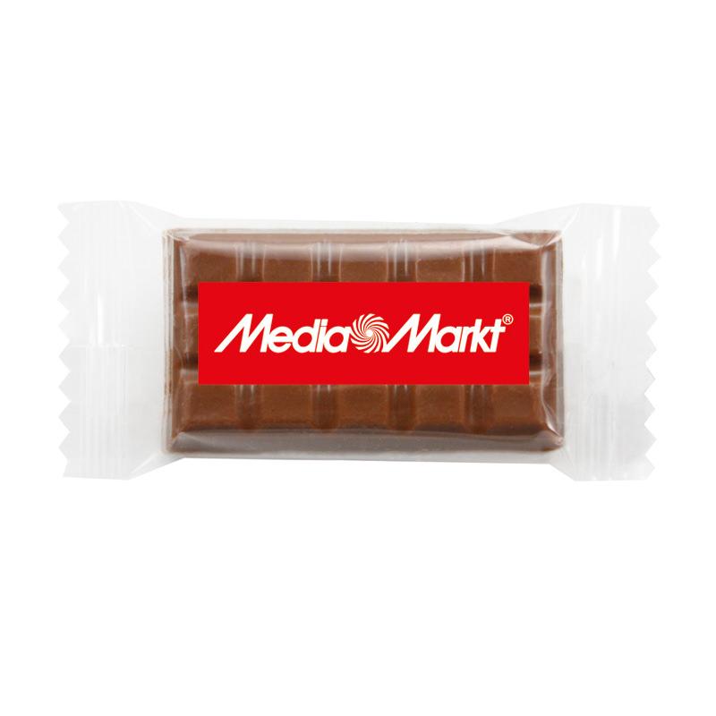 10 g Schokoladentäfelchen im Flowpack mit Werbedruck