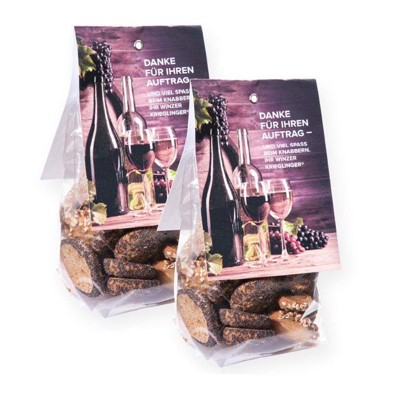 100 g Brotchips im Bodenbeutel mit Werbereiter und Logodruck