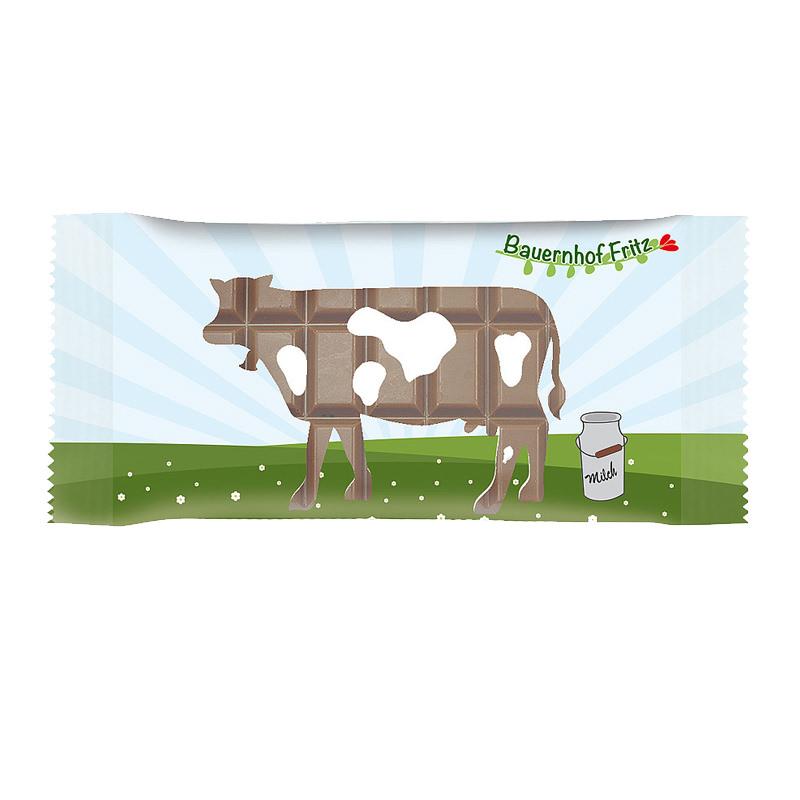 100 g Schokoladentafel im Flowpack mit Logodruck
