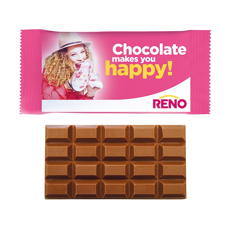 40 g Schokoladentafel im Flowpack mit Logodruck