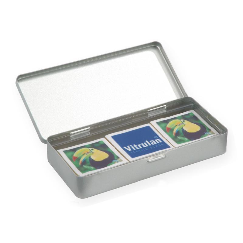 48 g bedruckte Plätzchen in Metallbox mit Werbeanbringung