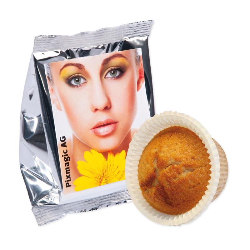 60 g Orangen-Muffin in Silberfolie mit Etikett und Logodruck