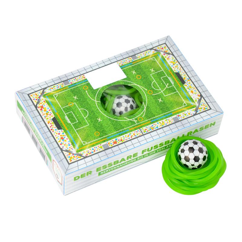 essbarer Fußballrasen Box mit Werbebedruckung