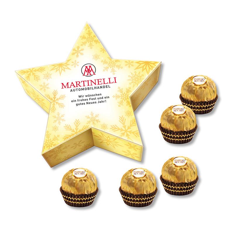 Ferrero Rocher Stern-Geschenkbox mit Werbedruck