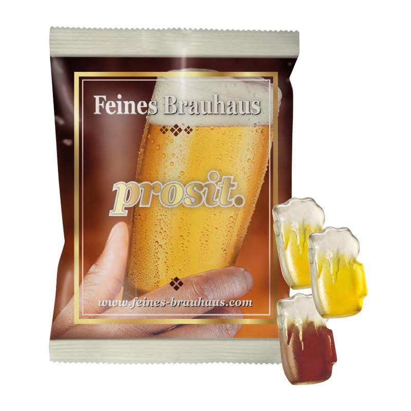 Fruchtgummi-Bierkrüge im Werbe-Flowpack