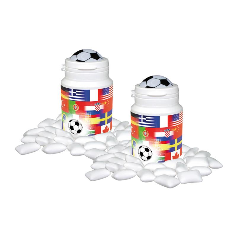 Fußball Gum Box mit Werbebedruckung