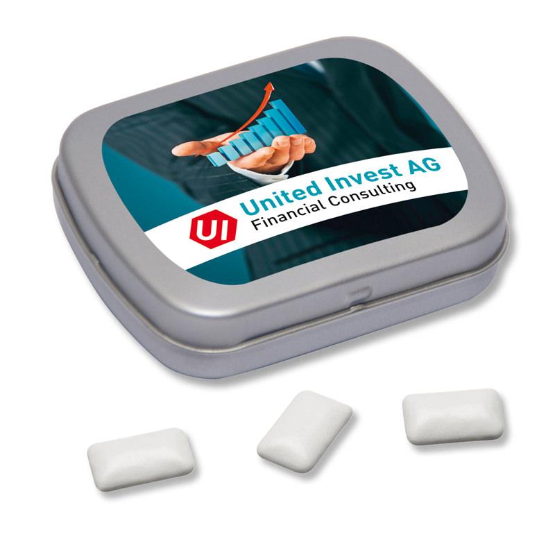 Kaugummi Klappdose Mini mit Logodruck