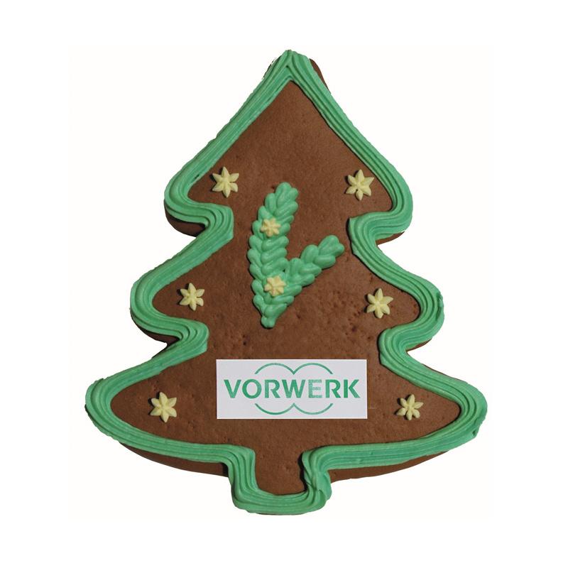 Lebkuchen-Weihnachtsbaum mit essbarer Werbeanbringung