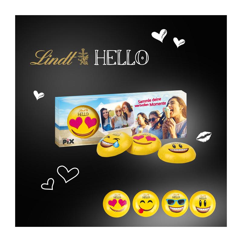 Lindt HELLO 3er Emoti mit Werbebedruckung
