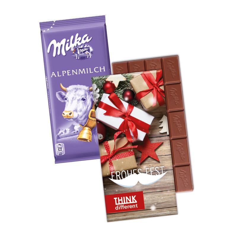Milka Schokoladentafel in einem Werbekarton mit Logodruck