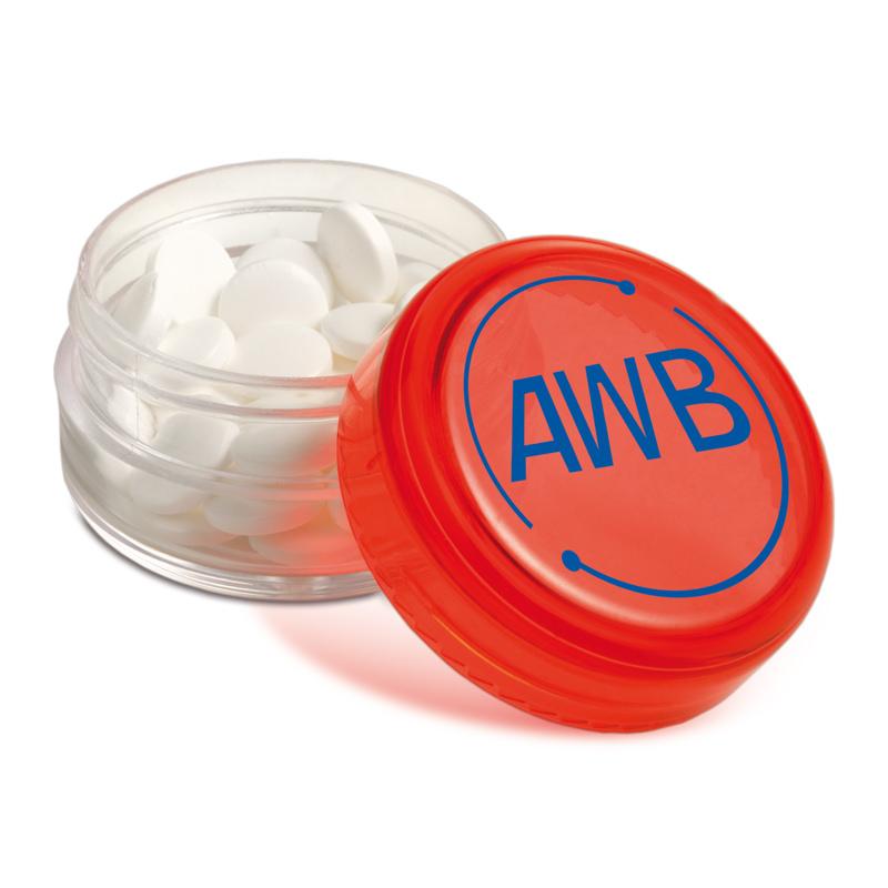Mini Kunststofftopf mit Pfefferminz und Logodruck