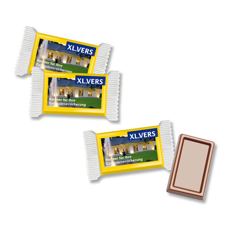 Mini Schokoladen-Täfelchen im Werbe-Flowpack