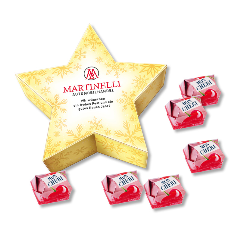 Mon Chéri Stern-Geschenkbox mit Werbedruck