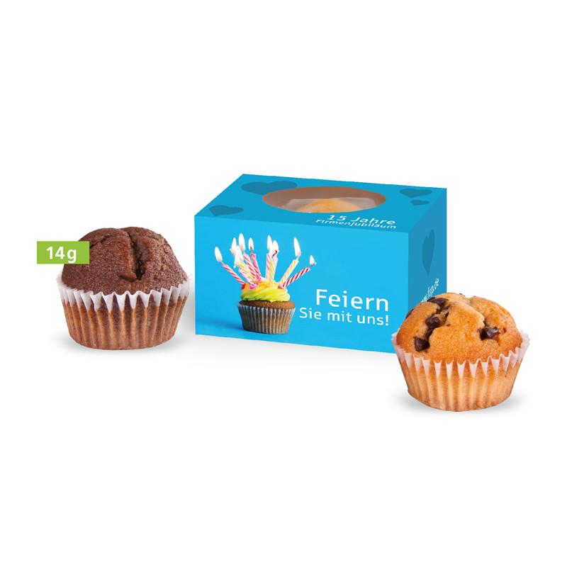 Muffin Mini in der Schiebe-Verpackung mit Werbedruck