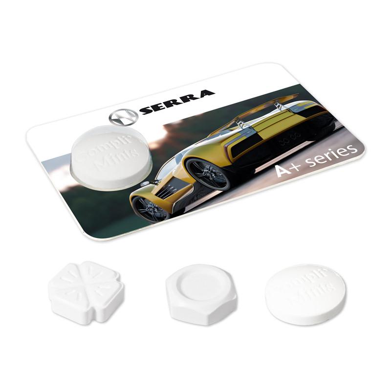 Pfefferminz-Kreditkarte Compliment mit Werbedruck