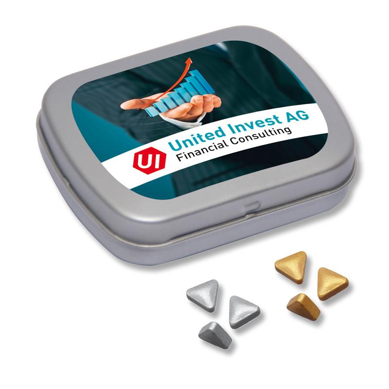 Pfefferminz-Nuggets Klappdose Mini mit Logodruck