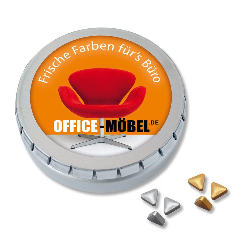 Pfefferminz-Nuggets Mini Drück-mich Dose mit Logodruck