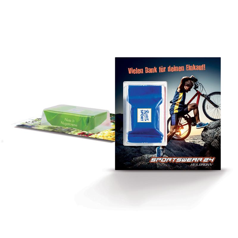 Premium Card mit Ritter Sport Schokowürfel und Logodruck