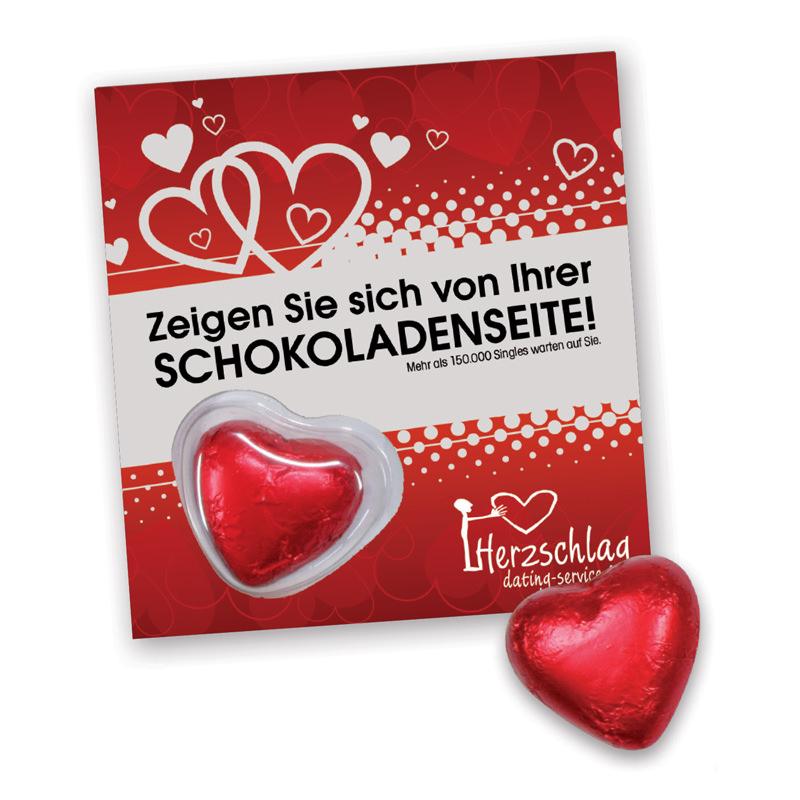 Premium Card mit Schoko-Herz und Logodruck