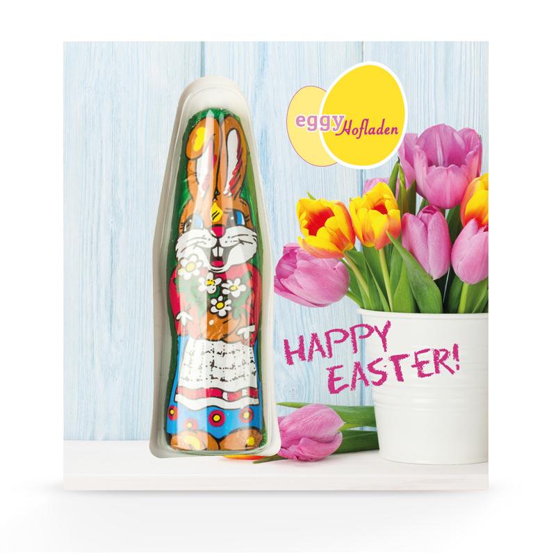 Premium Card mit Schoko-Osterhasen und Logodruck
