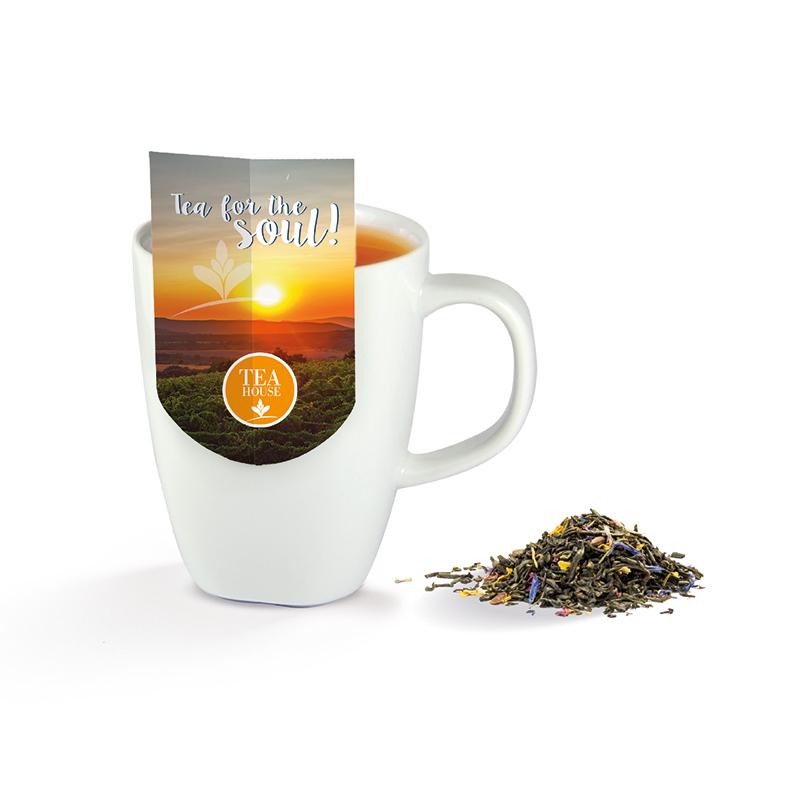 Premium-Tee mit Tassenreiter und mit Logodruck
