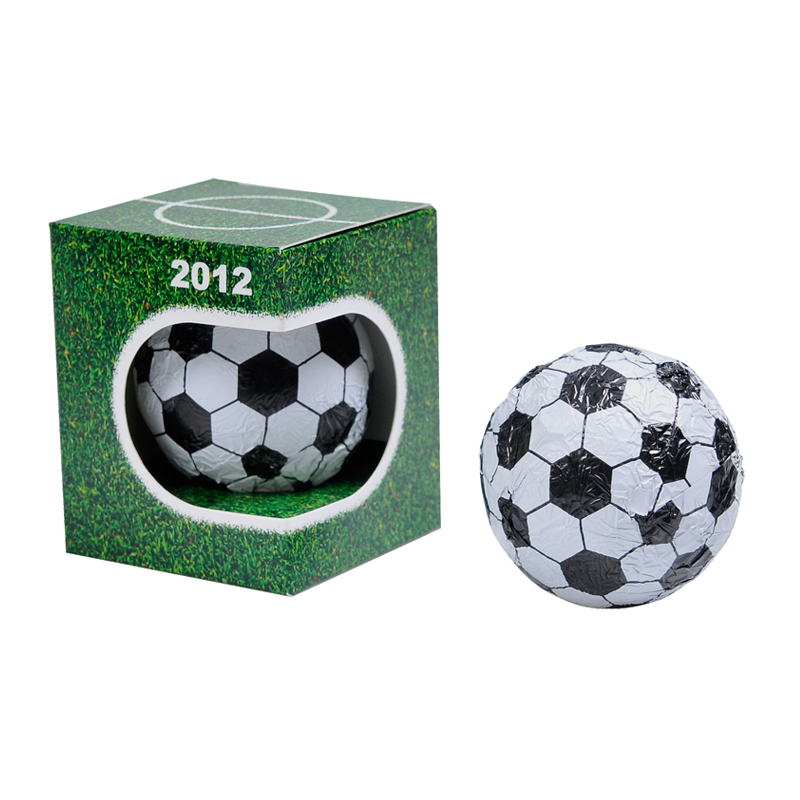 Schoko Fußball in Werbekartonage
