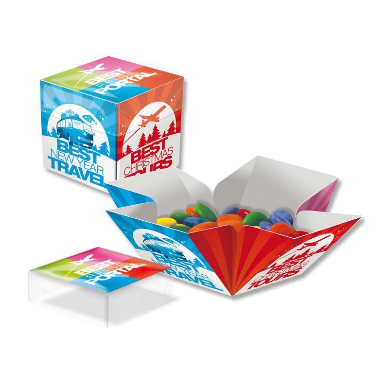 Schokolinsen Mini Überraschungs-Werbebox mit Logodruck