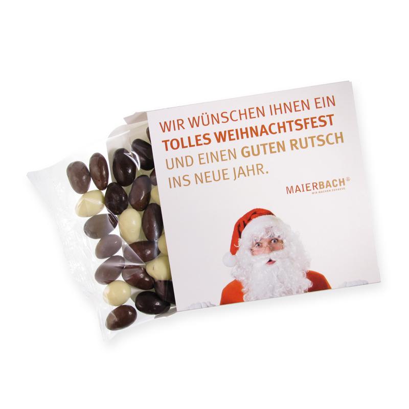 Weihnachtsmandeln in einer Werbekartonage mit Logodruck