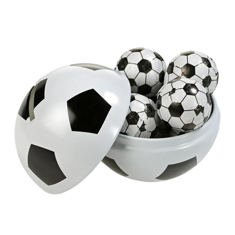 WM Fußball Spardose mit Schokolade und Werbekarte