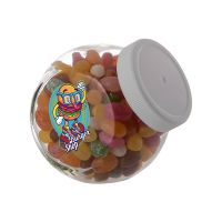 0,4 Liter Schräghalsglas befüllt mit Jelly Beans und mit Werbeetikett Bild 2