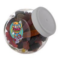 0,4 Liter Schräghalsglas befüllt mit Lakritze in PKW-Form und mit Werbeetikett Bild 2