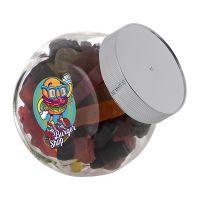 0,4 Liter Schräghalsglas befüllt mit Lakritze in PKW-Form und mit Werbeetikett Bild 1