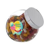 0,9 Liter Schräghalsglas befüllt mit Jelly Beans und mit Werbeetikett Bild 2
