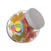 0,9 Liter Schräghalsglas befüllt mit Lollies und mit Werbeetikett Bild 2