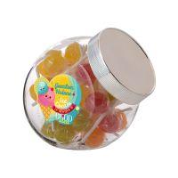 0,9 Liter Schräghalsglas befüllt mit Lollies und mit Werbeetikett Bild 1