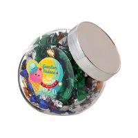0,9 Liter Schräghalsglas befüllt mit Metallic Sweets und mit Werbeetikett Bild 2