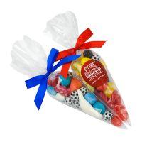 100 g Fußball Süßigkeiten-Spitztüte in Länderfarben und mit Werbeetikett Bild 1