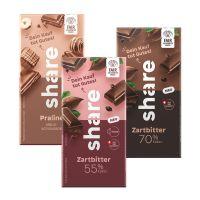 100 g Tafel share Zartbitter 70 % in Versandkartonage mit Werbedruck Bild 2