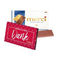 100 g Tafelschokolade merci Edel-Rahm mit Werbebanderole und Werbedruck Bild 2