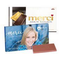 100 g Tafelschokolade merci Edelbitter 72 % mit Werbebanderole und Werbedruck Bild 1