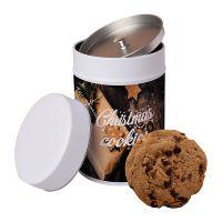 125 g XXL Bio-Cookies Schoko-Cashew in Keksdose mit Werbeetikett Bild 1