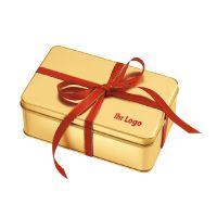 130 g weihnachtlich gefüllte Goldbox mit Werbeanbringung Bild 2