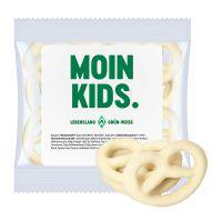 15 g Express Mini Brezeln mit Joghurt überzogen und mit Werbeetikett Bild 1