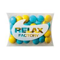 15 g farbige Schoko-Linsen in Mini-Kissen und Logodruck Bild 1