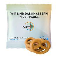 15 g Mini Brezeln mit Karamell überzogen im Werbetütchen mit Logodruck Bild 1
