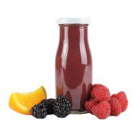 150 ml Bio Smoothie Himbeere & Brombeere mit Werbeetikett Bild 1